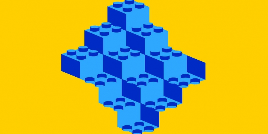 An optical illusion of blue LEGO bricks on a yellow background.