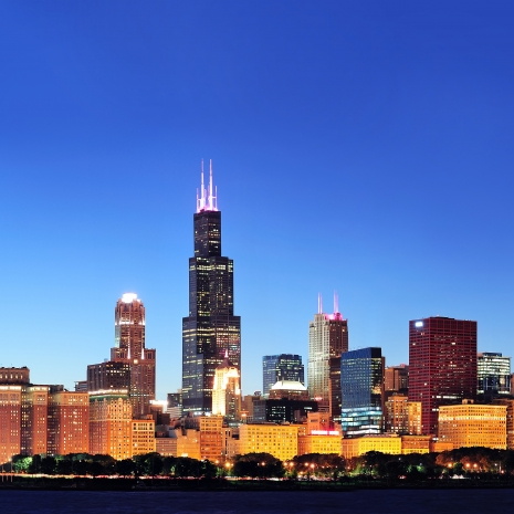 The Chicago skyline at dusk.