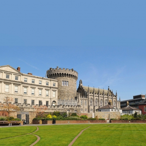 An exterior shot of a castle in Dublin.