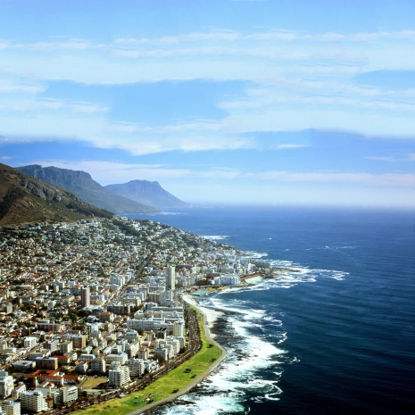 The city of Cape Town and the coastline.