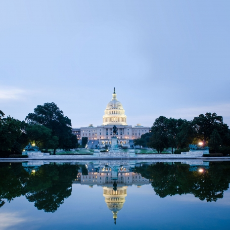 The U.S. Capitol Building at dusk.