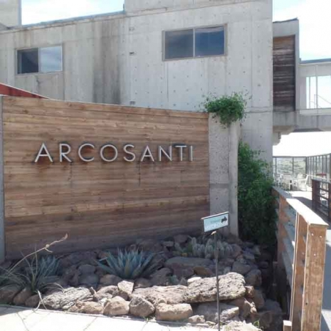 the wood-and-cement exterior of Arcosanti.