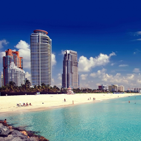 The water and beach in Miami.