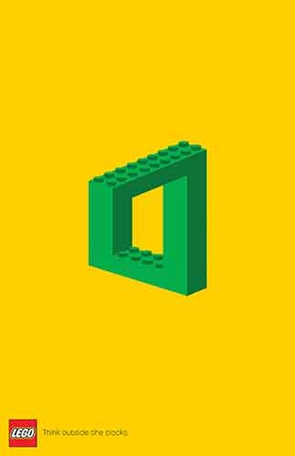 An optical illusion of a square built with green LEGO bricks.
