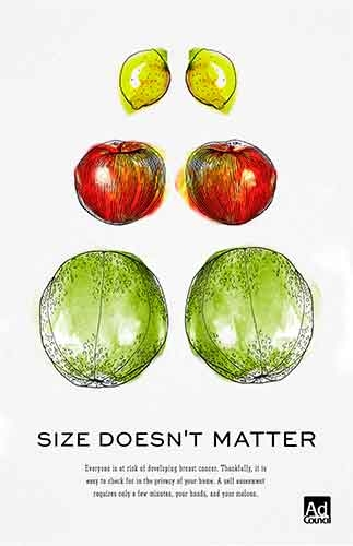 "Pictures of lemons, apples and cantaloupes, with the headline ""Size doesn't matter."""