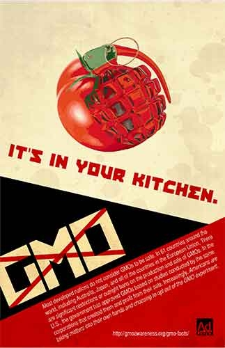 "A picture of a grenade made out of a tomato and the headline, ""It's in your kitchen. GMO."""
