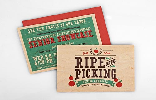 A farmer's market-themed invitation to the Advertising Department's Senior Showcase.