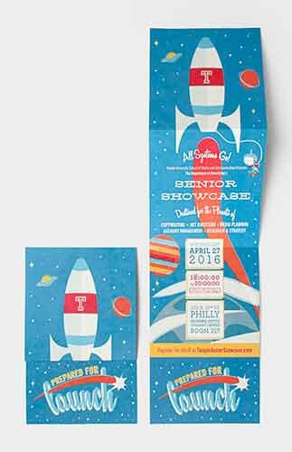 For the Advertising Department's 2016 Senior Showcase, a rocket launch theme was used. Referring to the graduates' professional readiness, it was titled Prepared to Launch.