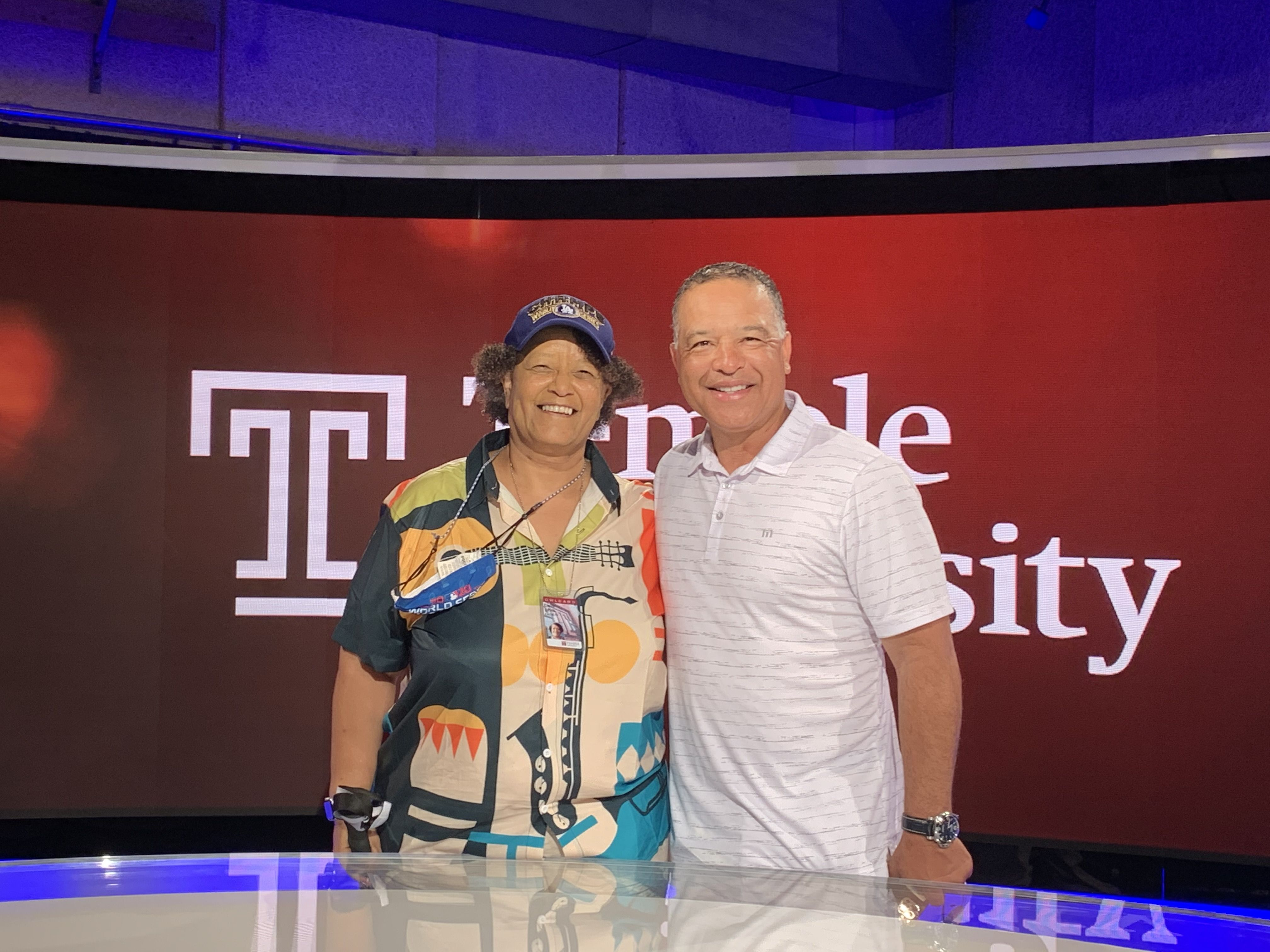 Dave Roberts, manager of the Dodgers and Claire at TUTV