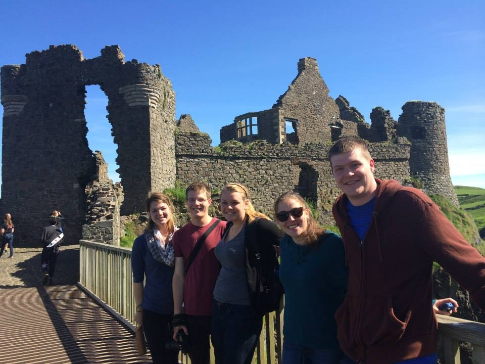 Students at Dunluce Castle in Northern Ireland