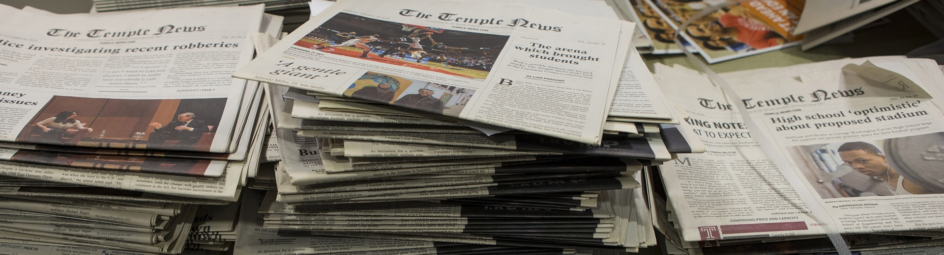 Stack of Temple News newspapers