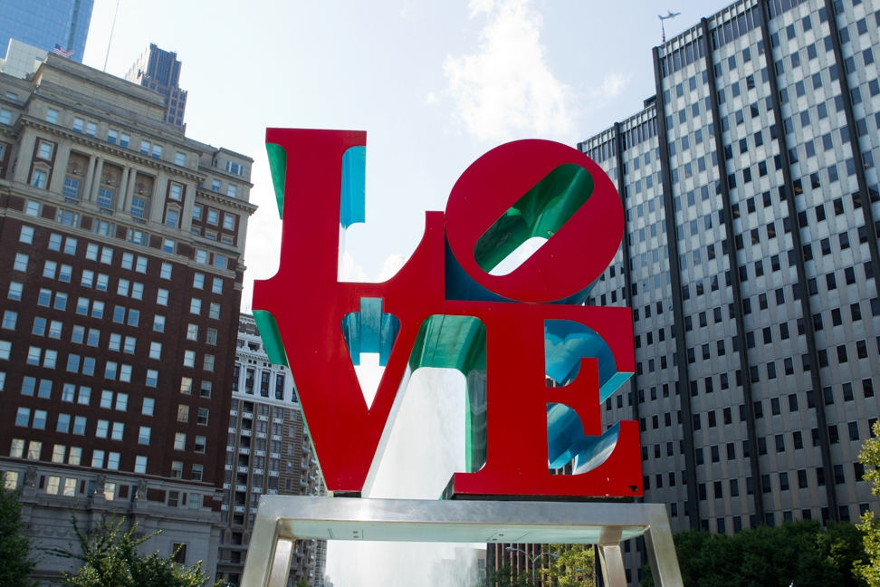 Love Park fountain and LOVE statue