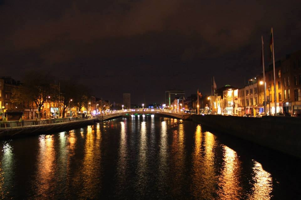 a river in Dublin at night