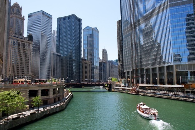 a view of the water from downtown Chicago