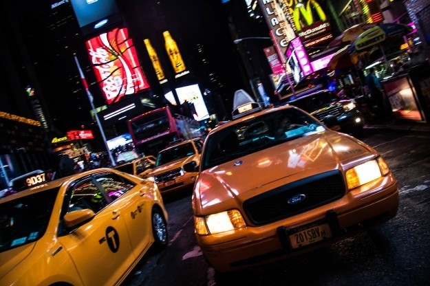 taxicabs in Times Square