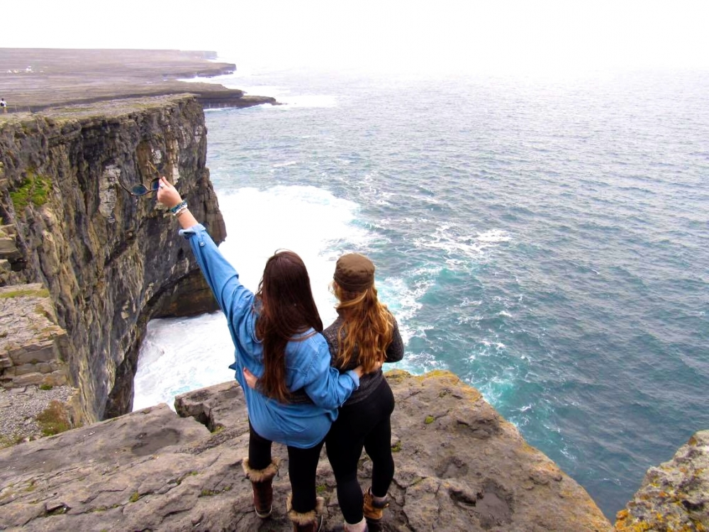 Students at an outlook in Ireland